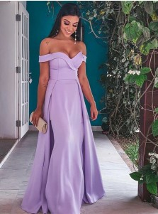 Elegant Off Shoulder Lavender Floor-Length Prom Evening Dresses with Detachable Train