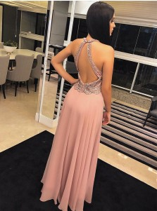 Elegant A-Line Scoop Sleeveless Blush Open Back Floor-Length Prom Evening Dress with Beading