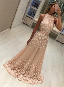 Modest High Neck Sleeveless Champagne Sweep Train Prom Evening Dresses with Appliques