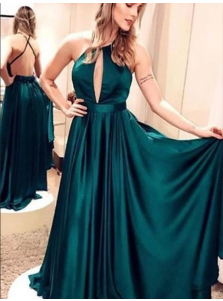 A-Line Halter Neck Sleeveless Backless Green Long Prom Dress