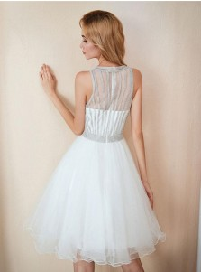 A-line Round Neck Sleeveless Above Knee White Tulle Prom Dress
