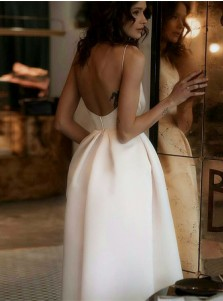 Chic Spaghetti Straps Pearl Pink Tea-Length Backless Prom Party Dress with Pockets