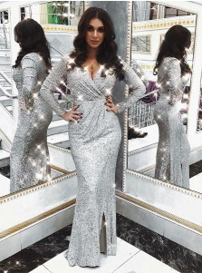 Glitter Silver Long Prom Dress Long Sleeves Sequined Evening Dress