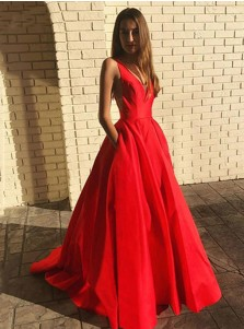 Red V-neck Long Prom Dress Backless Prom Dress with Pockets