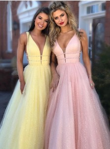 Glitter A-Line V-neck Long Yellow Prom Dress Sleeveless Evening Dress