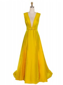 Deep V-neck Yellow Long Prom Dress Sleeveless Satin Evening Dress