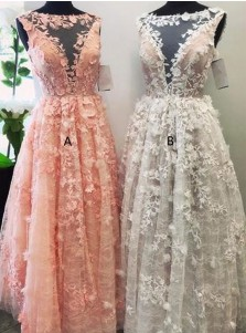 Round Neck A-line Pink Sleeveless Long Prom Dress with Appliques
