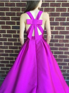 A-Line V-Neck Criss-Cross Straps Fuchsia Satin Prom Dress with Bowknot