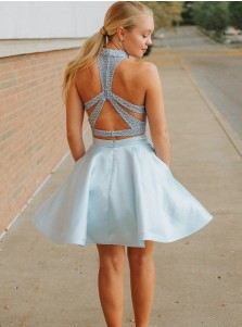 Two Piece Halter Criss-Cross Blue Homecoming Dress