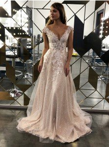 A-Line Sequins Open Back Floor-Length Sleeveless Wedding Dress with Appliques