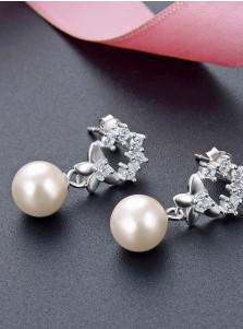 Stylish Silver Crystal Pearl Earrings for Women