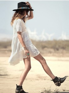 V-Neck Short Sleeves White Flowy Boho Dress with Lace