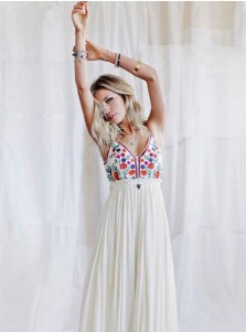 Plunging Neck Backless Long White Floral Boho Dress