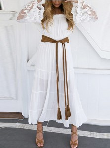 Off-the-Shoulder Long Sleeves White Flowy Boho Dress