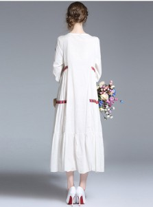V-Neck 3/4 Sleeves White Embroidery Boho Maxi Dress
