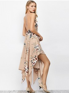 Sexy Spaghetti Criss-Cross Straps Asymmtrical Floral Boho Dress