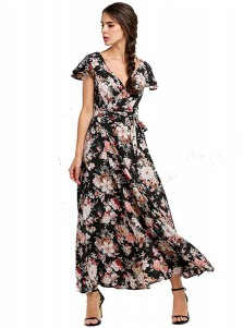 V-Neck Cap Sleeves Slde Slit Retro Floral Boho Dress