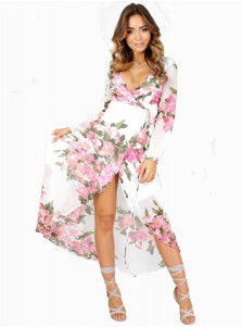 Plunging Neck Side Slit White Floral Wrap Maxi Dress