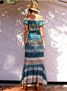 Two Piece Off-the-Shoulder Turquoise Ethnic Print Boho Dress