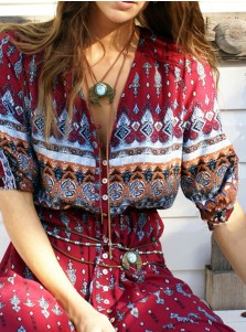 V-Neck Long Sleeves Button Front Multi Color Boho Dress