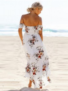 Off-the-Shoulder Short Sleeves Side Slit Floral Printed Boho Dress