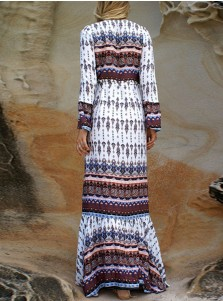V-Neck Flare Sleeves Drawstring Tribal Printed Maxi Dress