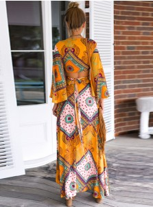 Two Piece Flare Sleeves Asymmetrical Yellow Floral Printed Maxi Dress