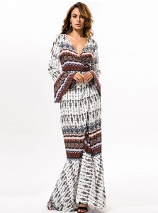 V-Neck Long Sleeves Drawstring Floral Printed Boho Dress
