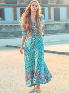 V-Neck Half Sleeves High Side Slit Floral Printed Maxi Dress