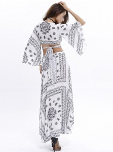 Two Piece Flare Sleeves Asymmetrical White Floral Printed Maxi Dress