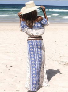 Two Piece Puff Sleeves Blue Floral Printed Boho Dress