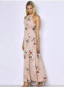 Halter Open Back Long White Floral Printed Boho Dress