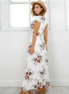 V-Neck Cap Sleeves High Waist White Floral Printed Maxi Dress