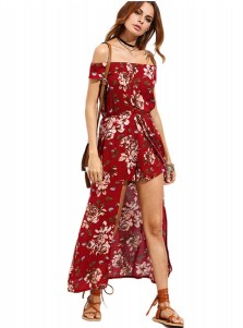 Off-the-Shoulder Short Sleeves Burgundy Floral Printed Maxi Dress