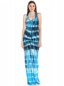 Scoop Neck Sleeveless Blue Tunic Printed Maxi Dress