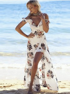 Off-the-Shoulder V-Back White Floral Printed Maxi Dress