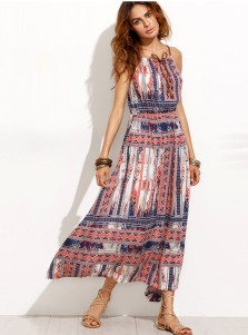 Spaghetti Straps High Waist Multi Color Printed Boho Dress
