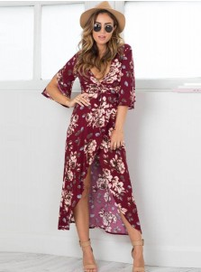Deep V-Neck Half Sleeves Burgundy Floral Printed Boho Dress