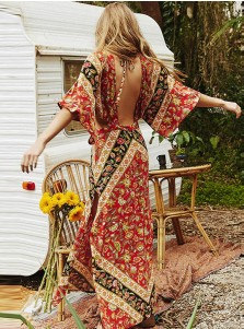 V-Neck Half Sleeves Backless Cutort Floral Printed Maxi Dress