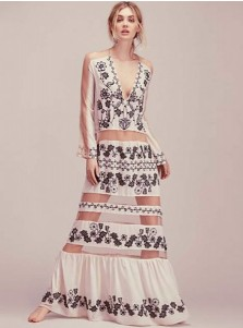 V-Neck Long Sleeves High Waist Patchwork White Boho Dress