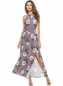 Halter Sleeveless Side Slit Gray Floral Printed Boho Dress