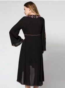 Plunging Neck Flare Sleeve Asymmetrical Embroidery Boho Dress