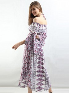 Halter Flare Sleeves Chiffon Tribal Printed Boho Dress