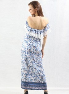 Off-the-Shoulder High Waist Blue Floral Boho Maxi Dress with Lace