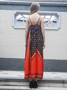 Spaghetti Straps Multi Color Tribal Print Boho Maxi Dress