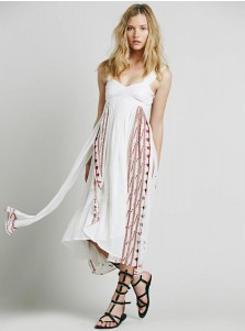 Straps Open Back Side Slit Embroidery White Boho Dress