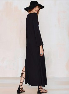 V-Neck 3/4 Sleeves Slit Embroidery Black Boho Maxi Dress