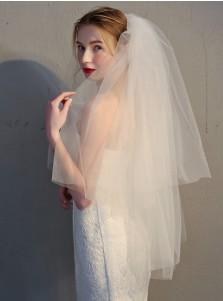 Two-tier Cut Edge 90cm Fingertip Bridal Veils