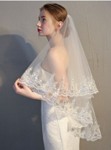 One-tier 90cm Fingertip Applique Edge Bridal Veils with Sequins