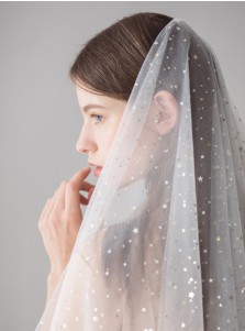 Two-tiered Fingertip Cut Edge Bridal Veils with Sequins